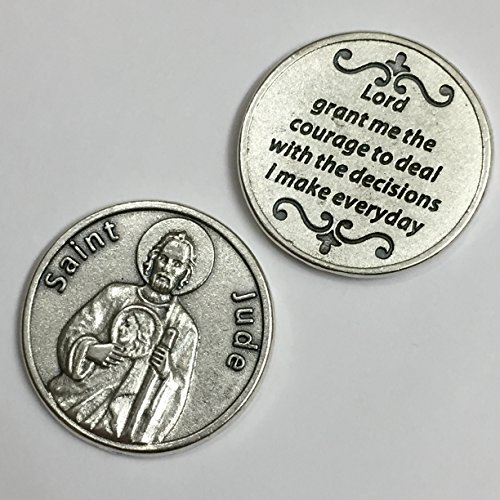 Saint St Jude Pocket Token Coin with Prayer Protection Protect Catholic Charm Medal Religious Gift 1 1/8