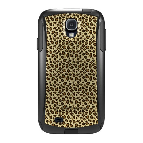 x Commuter Series Case for Samsung Galaxy S4 - Black Beige Tan Leopard Skin Spots (Custom Series Hybrid)