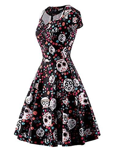 HUINI Vintage Kleid 50er 60er A-Linie Retro Rockabilly Swing Ballkleid Cocktailkleid Herzausschnitt Kurzarm Druckmuster Hepburn Hochzeit Party Große Größen Schwarz F6afSOsA