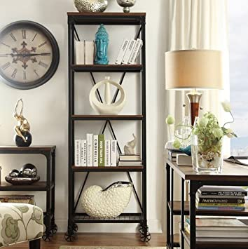 INSPIRE Q Nelson Decorative Modern Rustic Industrial 26 Inch 5 Tier Metal Bookcase Living