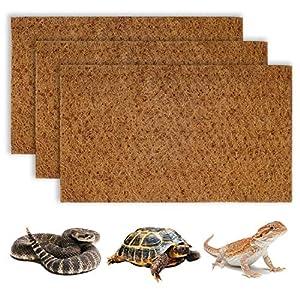 BWOGUE Reptile Carpet Natural Coconut Fiber Tortoise Lizard Mat,3 Pack Pet Terrarium Liner for Lizard Snakes Chamelon…