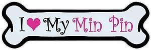 Crazy Sticker Guy Pink Dog Bone Shaped Magnet - I Love My Min Pin (Miniature Pinscher) - Cars, Trucks, Refrigerators