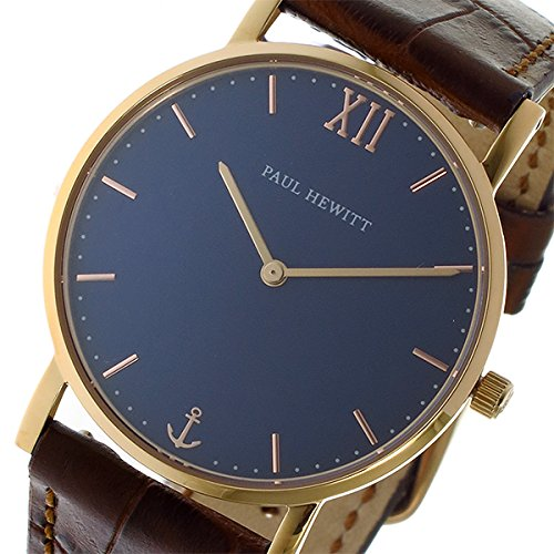 Paul Hewitt Reloj Sailor Line Blue Lagoon IP oro rosa 36 mm Pulsera de piel Alligator