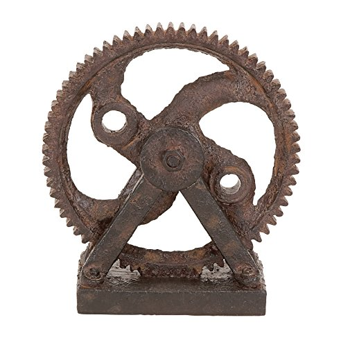 Deco 79 Poly-Stone Gear Decor, 9 by 8-Inch