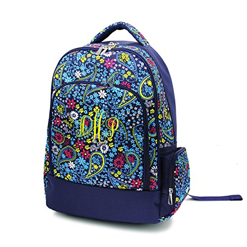 (Custom Embroidered Fashion Print Reinforced Design Water Resistant Backpack (Navy Paisley - Monogram))