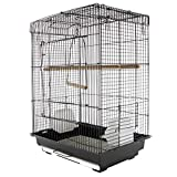 "PawHut 22"" Bird Cage Flight Parrot House Cockatiels Playpen with Open Play Top and Feeding Bowl Perch Pet Furniture Black"