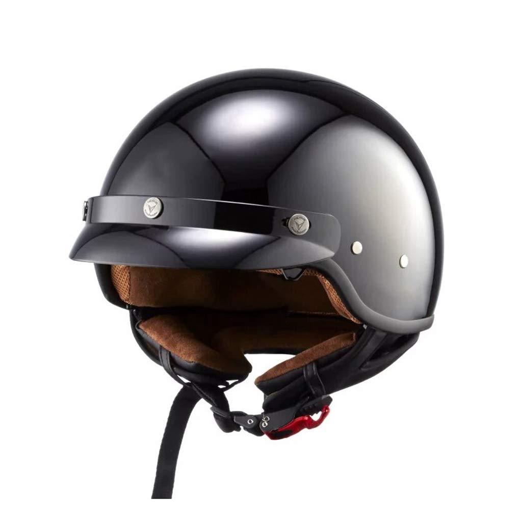 GWM オートバイのヘルメット、二重レンズの冬のレトロヘルメット、男性と女性の安全ヘルメット、四季の普遍的な人格クールハーフヘルメット、白(バブルミラー付き)XL(59-60頭の周に適しています) (色 : 黒, サイズ さいず : M) 黒 Medium
