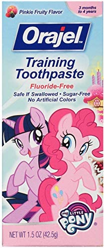 51ZOSrb%2BMtL. AC - Orajel My Little Pony Fluoride-Free Training Toothpaste, Pinky Fruity Flavor, One 1.5oz Tube: Orajel #1 Pediatrician Recommended Brand For Kids Non-Fluoride Toothpaste