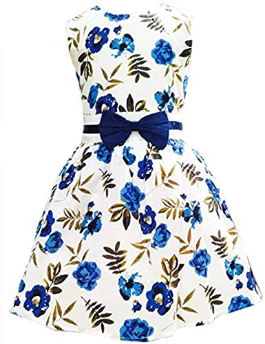 Little Hand Kids Dresses Girls Floral Printed with Bowknot Special Occasion Wedding Party Dress 3 4 ()