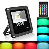 Blinngo 10W RGBW LED Flood Light, Outdoor Waterproof Security Lights with US 3-Plug and Timer for Home, Garden, Scenic Spot, Hotel, Landscape (RGB+Warm White)