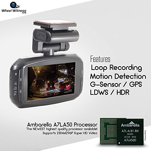 WheelWitness HD PRO Dash Cam with GPS - 2K Super HD - 170° Lens - 16GB microSD - Advanced Driver Assistance - For 12V Cars & Trucks - Night Vision Dashboard Camera Ambarella A7LA50 Car Security DVR by WheelWitness (Image #1)