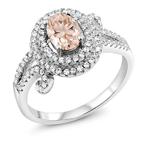 Gem Stone King 1.90 Ct Oval Peach Morganite 925 Sterling Silver Women's Ring (Size - 1.9 Ct Natural