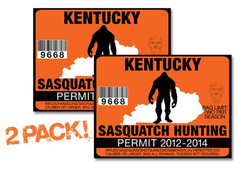Kentucky-SASQUATCH HUNTING PERMIT LICENSE TAG DECAL TRUCK POLARIS RZR JEEP WRANGLER STICKER 2-PACK!-KY