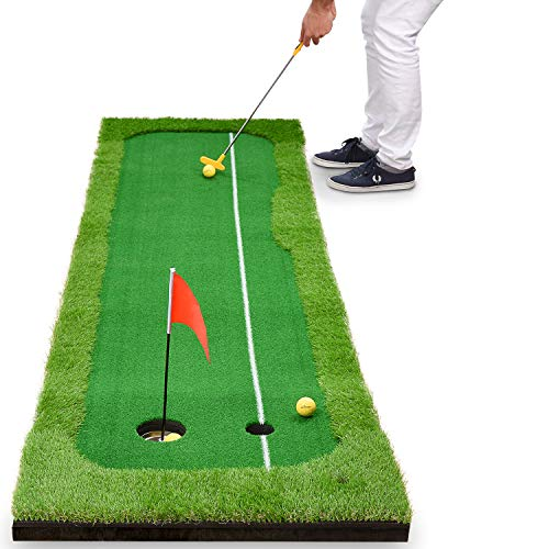 Abco Tech Synthetic Turf Putting Practice Indoor Golf Mat - Life-Like Artificial Green Turf Grass - Includes 3 Bonus Balls - Long-Lasting Design (2.5ft x 10ft)