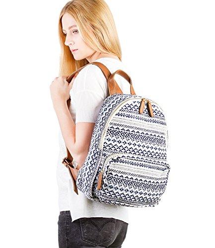 1718a1ec6a63f ... SIX SALE Trend großer Rucksack aus Canvas Stoff Reissverschlusstasche  Damen Handtasche blau-weißen Ethno Muster