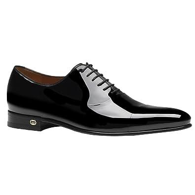 fd0928bf74a Amazon.com  Gucci Men s Black Patent Leather Lace Up Tuxedo Shoes ...