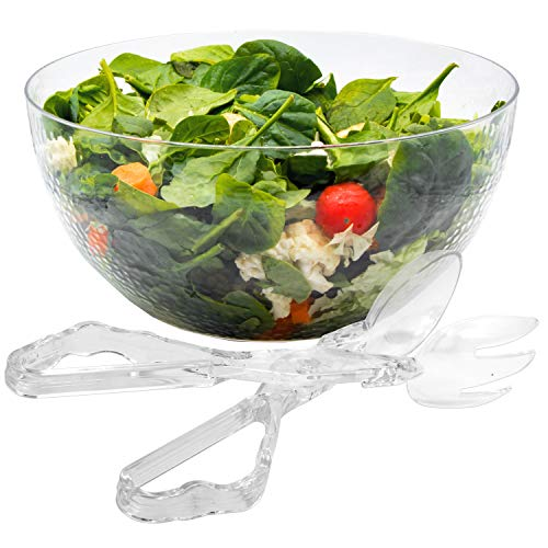 140 oz Salad Serving Bowl With Plastic Tongs Set Disposable Clear Glass Look (Catering Salad Bowl)