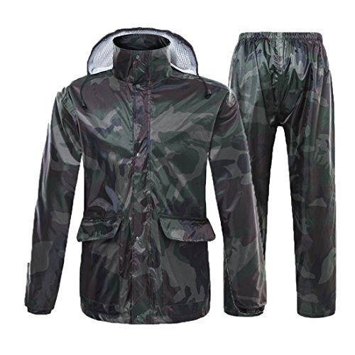 Spring Fever Unisex Camouflage Rain Suit Packable Waterproof Raincoats with Hood Rain Wear Jacket Green Camouflage XL
