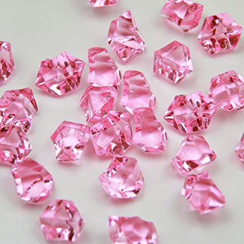 Pink Acrylic Ice Rock Crystals Treasure Gems for Table Scatters, Vase Fillers, Wedding, Banquet, Party, Event, Birthday Decoration(Pink, 150)