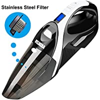 Handheld Vacuum, WELIKERA 12V 100W Dust Buster, Powerful Portable Pet Hair Vacuum, Rechargeable Vacuum Cleaner with Stainless Steel Filter, with A Carrying Bag, Black