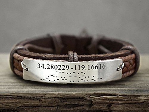 Morse Code Bracelet Custom Coordinates Mens Leather, Hidden Secret Message Engraved, Stainless Steel Wristband