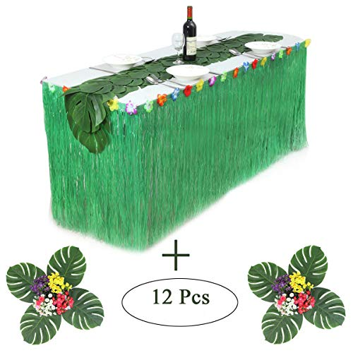 Hawaiian Luau Table Skirt Green Grass Table Skirt Raffia Table Skirt with 12 pcs Hibiscus Tropical Leaf Grass Table Runner for Luau Party Supplies(9ft Table (Green Raffia Grass)