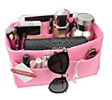 Vercord Felt Handbag organizer,Insert Purse Organizer 10 Pockets Structure Shaper Pink XL
