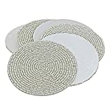 Set of 6 Handmade Silver Beaded Round Coffee Tea Coasters - 4 Inches Placemats for Tea cups - Beaded Coaster - Diwali Gift with WOODEN KEYRING by Prisha India Craft ®