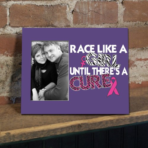VictoryStore Gift Frame - Breast Cancer Awareness Picture Frame #2 - Race Like a Girl Until There's a Cure - Holds 4
