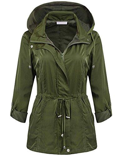 ANGVNS Women Waterproof Lightweight Rain Jacket Outdoor Hood