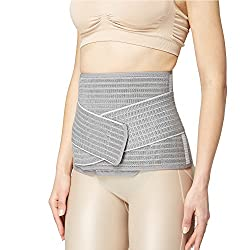 Mamaway Bamboo Nano Postnatal Support Belly Band Adjustable Waist Trimmer Belt Postpartum Slimmer Wrap Pelvis C Section Recovery Girdle After Pregnancy Breathable Tummy Slimmer Shapewear Gray L