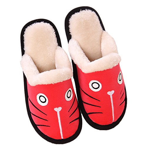 MiYang Winter Cute Cat and Dog Warm House Slippers Booties Red nimzDgCy