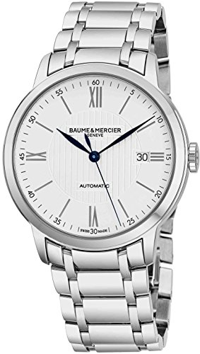 Baume & Mercier Classima Mens Automatic Watch - 40mm Analog Silver Face with Second Hand, Date and Sapphire Crystal Swiss Made Watch - Metal Band Stainless Steel Luxury Dress Watches - Crystal Mercier Baume Bracelet Et