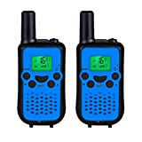 DuaFire Durable Kids Walkie Talkies, 2 Way Radio for Kids Playing Games, Back-lit LCD Screen and Strengthen VOX Free Your Hands (Pair Blue)