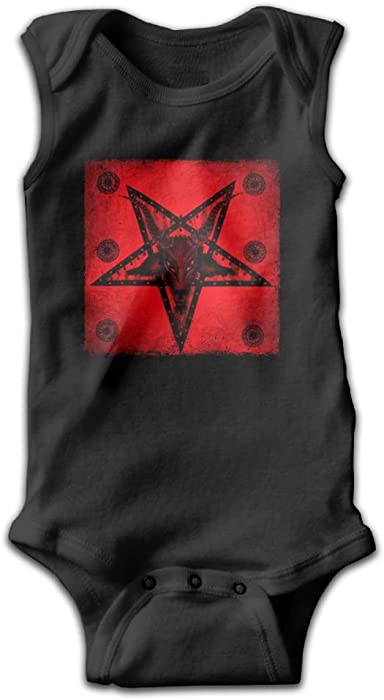1b6e1a004 Honeykid Infant Satan Painting - Baphomet Satanic Pentagram Sleeveless  Onesies Romper Black