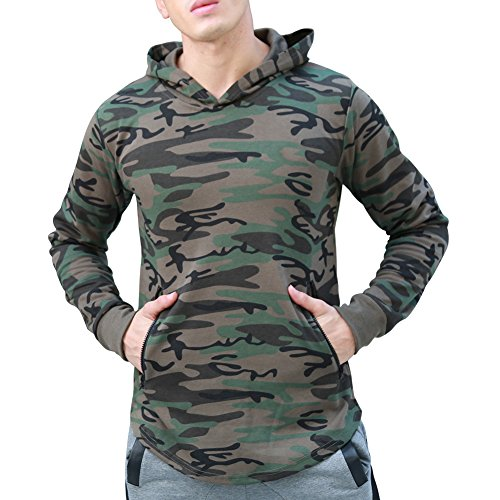 LANGCHEN Men's Gym Workout Hoodie Training Sports Pullover with Zipper Pockets Hoody Camo Large