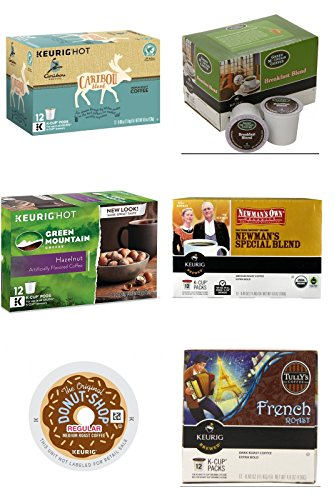 Green Mountain Breakfast, Hazelnut, The Original Donut Shop, Newman's Organic Medium Roast, TullY's , Caribou Blend, Variety Pack, 12 Keurig K Cups Each Flavor - 72 Total K Cups