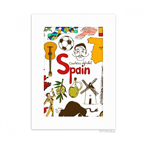 DIYthinker Spain Landscap Animals National Flag Desktop Photo Frame Picture White Art Painting 5x7 inch by DIYthinker