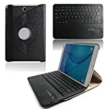 Boriyuan Tab A 9.7 Keyboard Case - Stylish Luxury Premium Ultra Slim ABS Keys Removable Wireless Bluetooth Keyboard Protective Folding Flip PU Leather Case with Detachable Keyboard For Samsung Galaxy Tab A 9.7 inch Tablet SM-T550 Folio Stand Cover 360 Degrees Rotatable Multi-angel with Elastic Strap Latch + Screen Protector + Black Stylus Pen (Black)