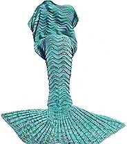 DDMY Mermaid Tail Blanket for Kids Teens Adult Handmade Wave Mermaid Blankets Crochet Knitting Blanket Seasons