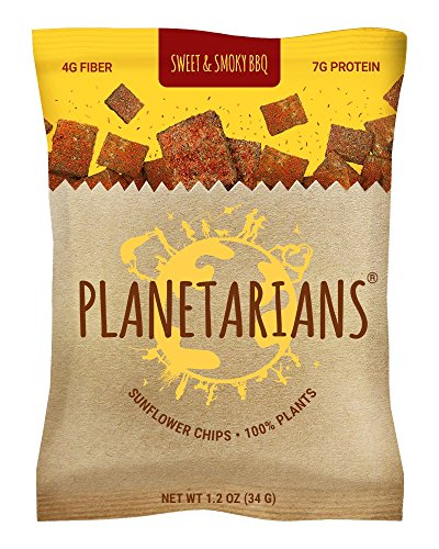 Planetarians Healthy Snacks Baked Chips – Vegan Protein Chips (7g) High Fiber Crisps (4g) Plant Based (130cal) Sweet & Smoky BBQ Chips Snack Pack, Sunflower Chips – 6 Bulk Individually Wrapped Snacks Works Tortilla Chips