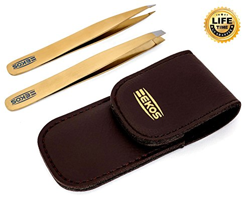 BEKOS Stainless Steel Pointed and Slant Tip Tweezers Set - Gold
