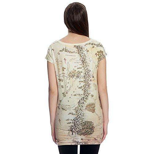 T-shirt girlie Seigneur des Anneaux carte Terre du Milieu Loose Fit Elbenwald beige