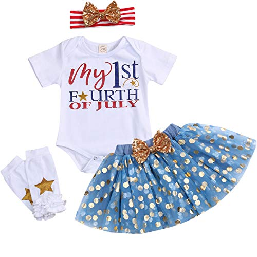 Baby Girls My First 4th of July Skirts Set Toddler Girl Short Sleeve Romper+Blue Golden Dots Skirt+ Striped Headband 4PCS Summer Outfits (Blue 2, 12-18 Months)