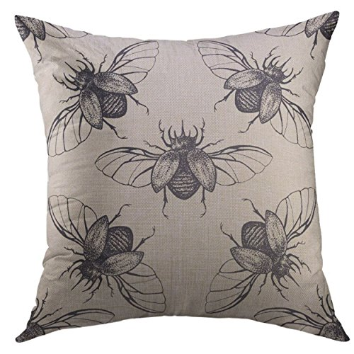 (Mugod Pillow Cover Bug Beetles with Wings Vintage Halloween Home Decorative Throw Pillow Cushion Cover 16x16 Inch Pillowcase)