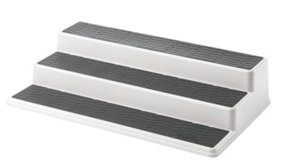 Copco 2555-0188 Non-Skid 3-Tier Spice Pantry Kitchen Cabinet Organizer, 15-Inch, White/Gray by Copco