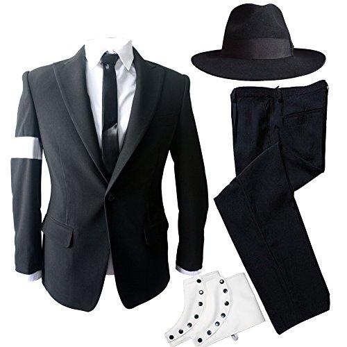 MJ Michael Jackson Dangerous Bad Tour Costumes Black Suit Full Outfit for Prefromance Party Show Gift (Michael Jackson Costumes Smooth Criminal)