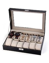 BeautyGal 12 Grids Watch Display Business Case PU Leather Jewelry Storage Personal Box Organizer With Key