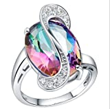 ZHX 925 Sterling Silver 18k White Gold Plated Cocktail Ring multi-color 9