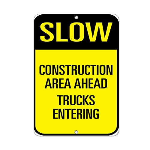 Slow Construction Area Ahead Trucks Entering Traffic Sign Aluminum METAL Sign 18 in x 24 in from Fastasticdeals